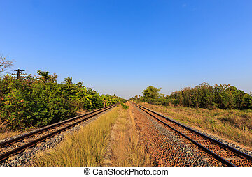 Railway tracks with blue sky in the evening