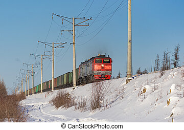 railway train in winter