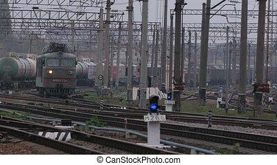 Railway train wagon railroad - Railway train travels along...