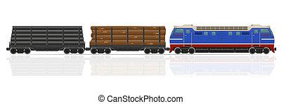railway train with locomotive and wagons illustration