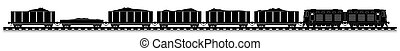 Railway train with locomotive and wagons. Side view.