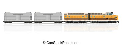 railway train with locomotive and wagons vector illustration...