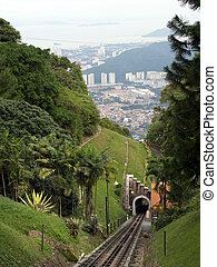 Railway tram track on the Penang hill, Malaysia. - Railway...