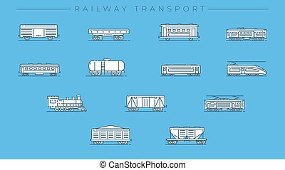 Railway Transport concept line style vector icons set. - Set...