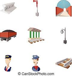 Railway transport icons set, cartoon style
