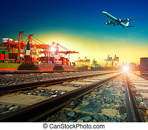 railway transport in import export shipping port and cargo plane logistic flying above use as freight and transportation business service