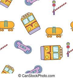 Railway transport pattern, cartoon style