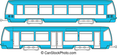 Railway transport - Vector illustration of a modern tram ...