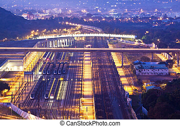 Railway transportation at night