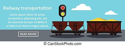 Railway transportation banner horizontal concept