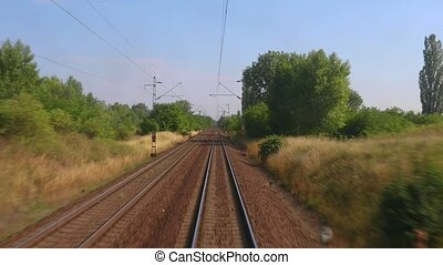 Railway travel view - Train journey point of view