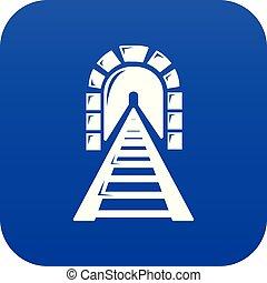 Railway tunnel icon blue vector