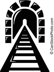 Railway tunnel icon , simple style
