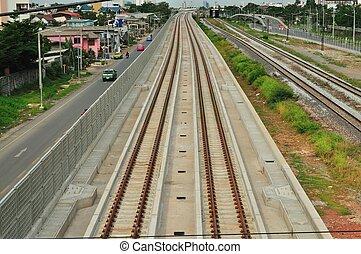 Railway under the blue sky in Bangkok