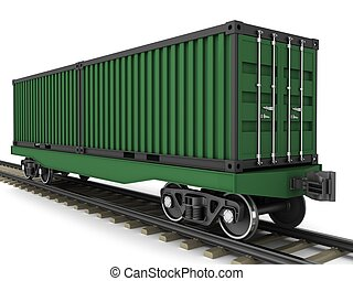 Railway wagon for transportation of containers on a white...
