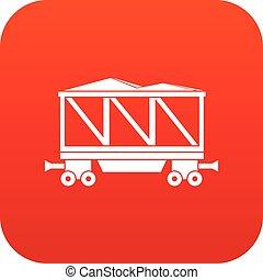 Railway wagon icon digital red