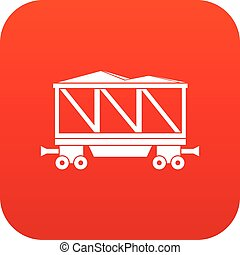 Railway wagon icon digital red