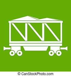 Railway wagon icon white isolated on green background. illustration