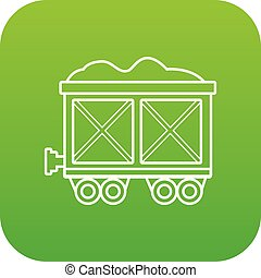 Railway wagon icon green vector
