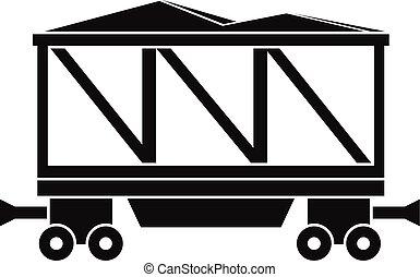 Railway wagon icon, simple style