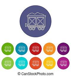 Railway wagon icons set color
