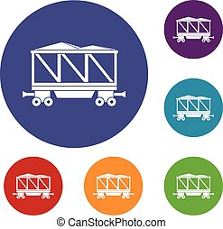 Railway wagon icons set