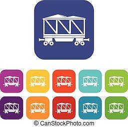 Railway wagon icons set flat