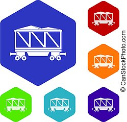 Railway wagon icons set hexagon