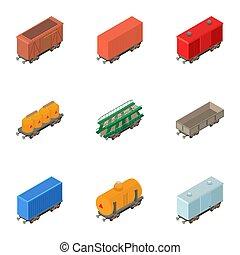 Railway wagon icons set, isometric style