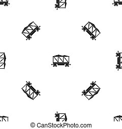 Railway wagon pattern seamless black