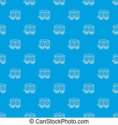 Railway wagon pattern seamless blue repeat for any use