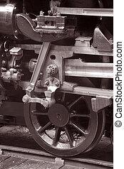 Railway Wheel on Track in Black and White Sepia Tone