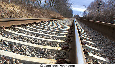 Railway with perspective close up image