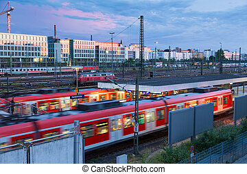Railway with trains on Hackerbrucke train and S-bahn station...