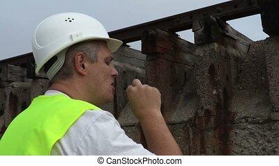 Railway worker smoking close up