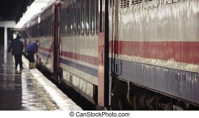Railway workers on platform