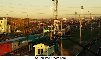 Railway yard, time lapse