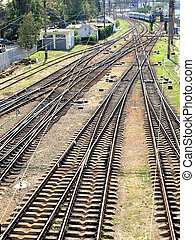 Railways - The panorama of railroad tracks. Top view.