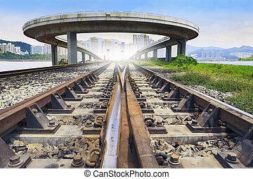 railways track and bridge cross over with urban scene behind use