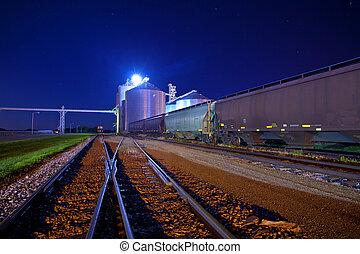 railyard at night with grain elevators