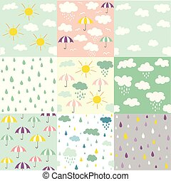 Rain and clouds seamless patterns