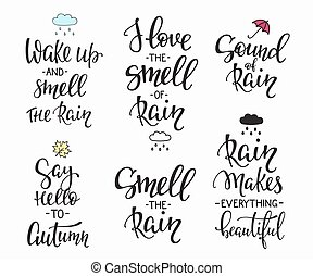 Rain Autumn Days quotes typography set - Season life style...