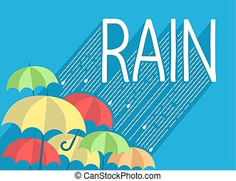 Rain background with stylish text and umbrellas