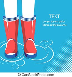 Rain background.Human legs in red rubber boots for text