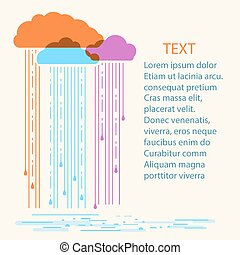 Rain background.Vector illustration with stylish flat clouds