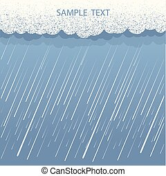 Rain background.Vector image with dark clouds in wet day