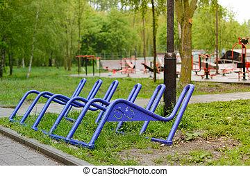 rain., bicycles, après, park., stationnement