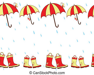 Rain boots and umbrella seamless - Illustration cute rain...