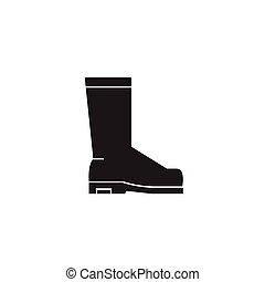 Rain boots black vector concept icon. Rain boots flat illustration, sign