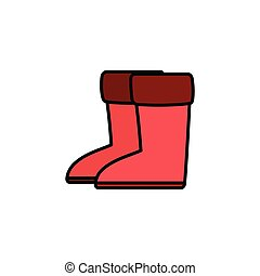 Rain boots. Filled color icon. Footwear pharmacy vector ...
